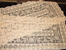 "ANTIQUE CREAMY WHITE LACY TABLE RUNNER FINE OPEN COTTON WORK 14"" X 70"""